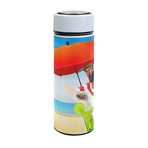 XiangHeFu Waterfles, geïsoleerd, strand, zomer, hond en drank, koud of warm houden, reisbeker, sport, thermoskan, lekvrij, 17oz