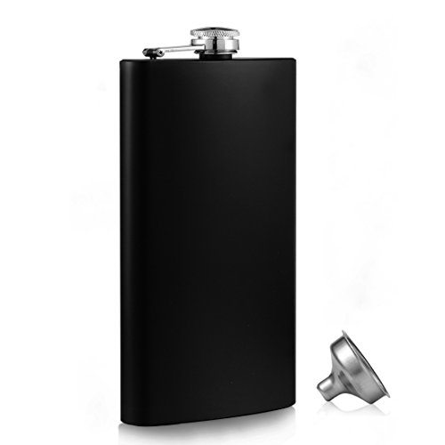 12oz Hip Flask 18/8 304 Steel Stainless Food Grade with Free Funnel Liquor Drinking of Alcohol Whiskey Gift for Men(Black)
