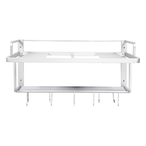 Doppelschichtiges Aluminium-Mikrowellen-Rack, Wandhalterung für Küche mit 2 Ablagen Regal für Mikrowelle Ofen 55 x 38,5 x 25 cm