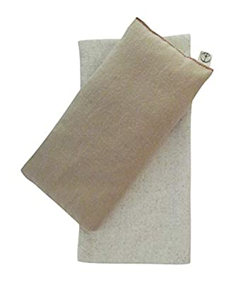 4 x 8.5 - Unscented Flax - Washable Cover - Soft Cotton Flannel Peacegoods Eye Pillow Gift Set - Relaxing Soothing - Hunki Dori beige tan