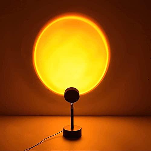 Lámpara de puesta de sol con luz nocturna, lámpara de pie y lámpara de proyección de puesta de sol para decoración romántica, lámpara de proyección arco iris para sala de estar JINCAN (color: sol)