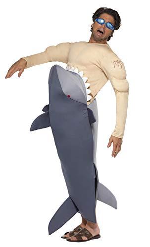 Smiffys Déguisement Homme Requin Mangeur d'Hommes, Combinaison et lunettes de natation, Funny Side, Serious Fun, Taille Unique, Couleur: Gris, 36378