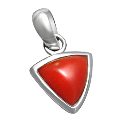 Silver Pendent Munga 7.50 Ratti Natural & Gjspc Certified Coral (Moonga) Astrological Gemstone Silver Pendant by Arihant Gems & Jewels