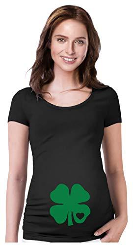 Camisetas de gravidez Dia de São Patrício com estampa de folhas de trevo para bebês, Trevo de coração preto, S