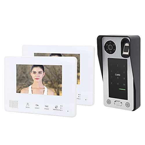 Timbre de video para el hogar inteligente de 7 pulgadas, sistema de conversación de 2 cables, 2 monitores, contraseña de huellas dactilares, desbloqueo de tarjeta IC, intercomunicador de seguridad de