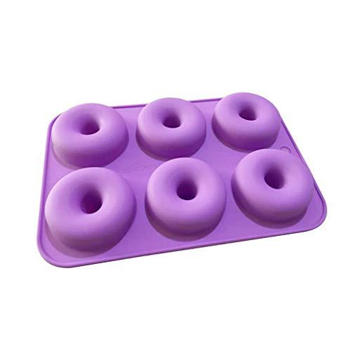 HUGUWEDING Molde de bolo de silicone, 1 peça de molde de rosquinha, molde de silicone para bolo, bolo, bolo, rosquinhas, bandeja antiaderente de 6 cavidades, molde resistente ao calor, utensílios duráveis para assar