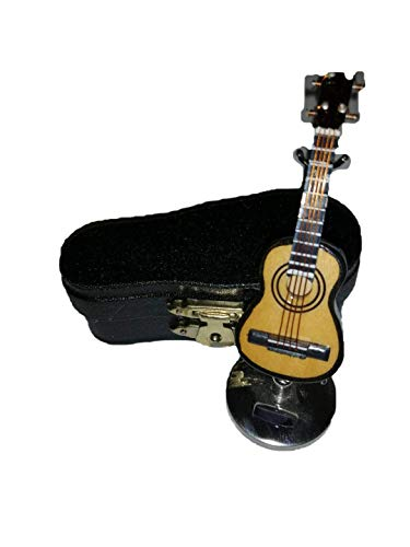 9619 Spaanse gitaar miniatuur; gemaakt van hout, afmetingen: 7 cm hoog, 2,5 cm breed en 1 cm diep; Met houten kist.