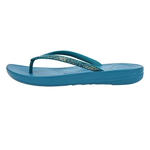 FitFlop Women's iQushion Sparkle Ergonomic Flip-Flops, Sea Blue, 10
