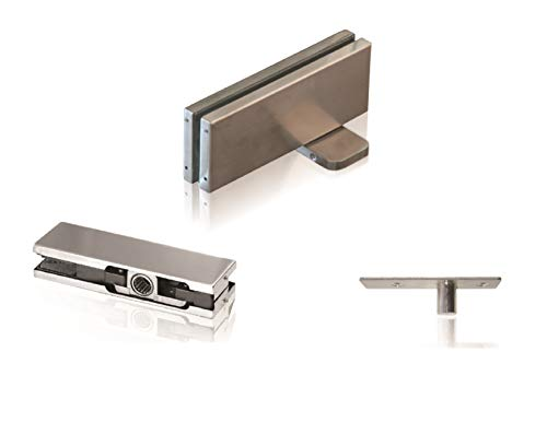 NHN Hydraulic Self Closing Pivot Door Closer (Non Hold Open) for Glass Door + Top Patch + Top Pivot, No Floor Digging, Stain Stainless Steel