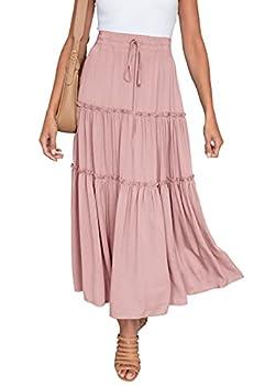 HAEOF Women s Boho Elastic High Waist A Line Ruffle Swing Beach Maxi Skirt with Pockets Pink