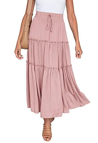 HAEOF Women's Boho Elastic High Waist A Line Ruffle Swing Beach Maxi Skirt Pink