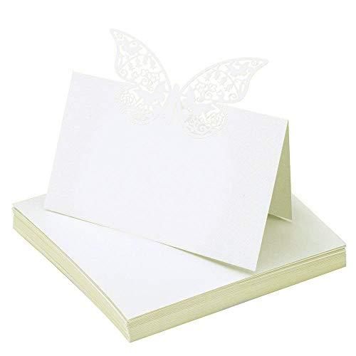 Tarjetas de Lugar,Tarjetas de Mesa 50 Piezas Blanco Perla Mariposa Nombre Tarjeta para Decoración de Fiesta de Boda 12 * 9cm