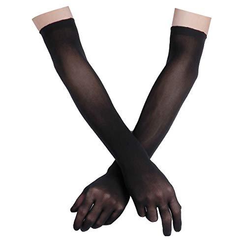 FEESHOW Damen Nahtlose Handschuhe Stulpenärmel Elastisch Strumpfhosen Nylon Durchsichtig Ellenbogen Lang für Hochzeit Abend Schwarz One Size