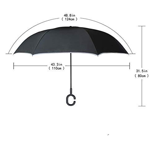 ZGMMM Winddichter bunter sternenklarer Himmel-umgeklappter doppelter Schicht umgekehrter Regenschirm-Selbstregen-Sonnenschutz