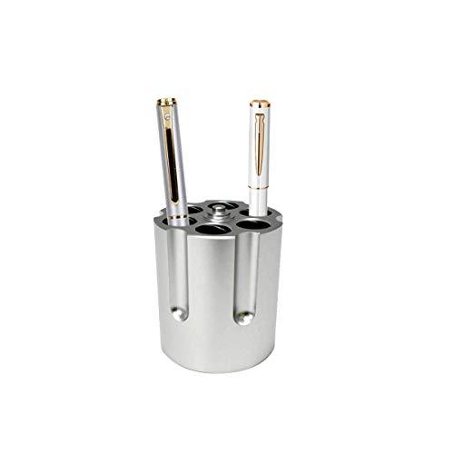 Magiin kreative Stifthalter mit 6 Kugelschreiber Stifthalter Pistole Zylinder Design Heavy Duty rutschfeste Aluminium Büro Dekoration