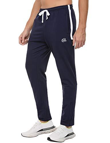 Sykooria Pantalones Deportivos de Algodón con Bolsillos para Hombres Pantalón Chándal Tobillo Ajustable con Cremallera Jogger para Entrenamiento Ciclismo
