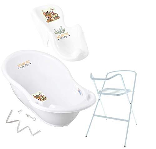 Tega Baby ® Baby Badewanne mit Gestell und Verschiedene Sets mit Babybadewannen + Ständer + Abfluss + Badewannensitz 0-12 Monate   ergonomisch Neugeborene, Motiv:Hirsch - weiß, Set:4 Set