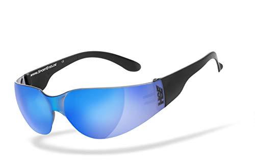 HSE SportEyes %Sale UV400 Schutzfilter | HLT® Kunststoff-Sicherheitsglas nach DIN EN 166 | Sportbrille, Radbrille, Sonnenbrille | Brillengestell: schwarz matt, Brille: Sprinter 2.0