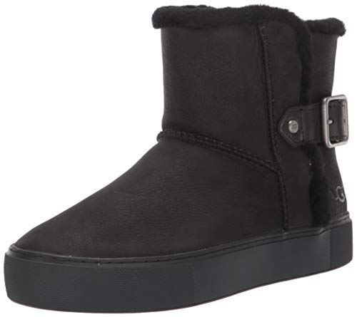 UGG Women's AIKA Ankle Boot, Black Leather, 5.5 M US