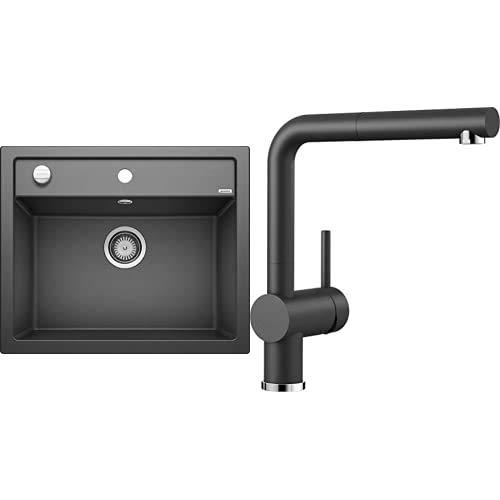 BLANCO Spül-Set in anthrazit – DALAGO 6 – Spülbecken für 60 cm Unterschränke – Granitspüle aus SILGRANIT + LINUS-S – Küchenarmatur in SILGRANIT-Look – mit herausziehbarem Auslauf