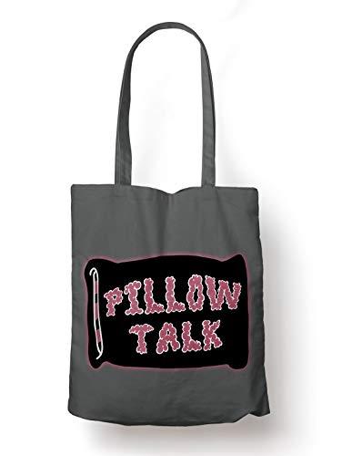 BLAK TEE Pillow Talk SloganOrganic Cotton Reusable Shopping Bag Grey