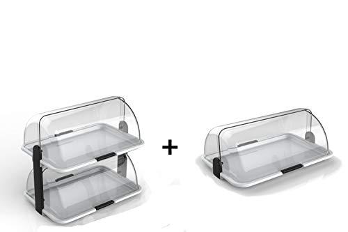 youhome - Kit 2 Pezzi POLYBOX Vetrina Dolci espositiva Made in Italy, espositore Porta Pane panini Torte Croissant brioches Formaggi cibi freschi salumi, Bar b&b Ristorante casa