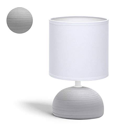 Aigostar - Lámpara de mesa, semioval gris, cuerpo de diseño sencillo color gris, pantalla de tela color blanco, Casquillo E14 (Bombilla no incluida) Perfecta para el salón, dormitorio o recibidor.