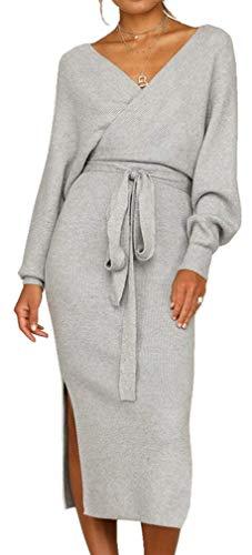 Socluer Strickkleider Damen Vintage Kleider Etuikleid Pulloverkleider Partykleider Abendkleid V-Ausschnitt Elegant Minikleid mit Gürtel (XL (DE 40-42), Z-Grau)