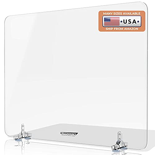GUARDMATE | Max Stability Suction Cup Sneeze Guard | 48'W x 24'H | Premium Plexiglass Shield Restaurant Divider | Acrylic Office Desk Divider Panel | Work Space Protection Portable Plastic Barrier