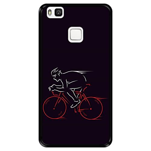 Custodia per [ Huawei P9 Lite ] Disegni [ Atleta, Ciclista in Bicicletta ] Cover Guscio in Silicone Flessibile Nero TPU