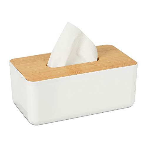 Relaxdays Caja para pañuelos, Tapa de bambú, para el baño, Moderno, Plástico, 10 x 23 x 13 cm, 1 Ud, Blanco & Marrón, Blanco/Marrón