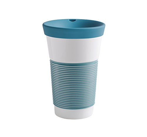 Kahla cupit Becher 0,47 l mit Trinkdeckel in Green Lagoon, Coffee to Go Mug aus Porzellan mit innovativer Magic Grip Beschichtung, Pro Öko, 10 x 6 x 16.7 cm