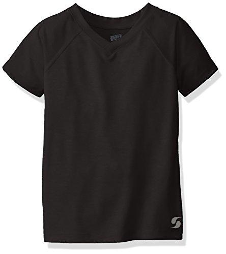 Soffe Girls' Big Performance Short Sleeve, Black, Large