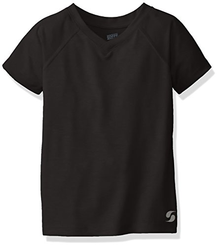 Soffe Girls' Big Performance Short Sleeve, Black, Large