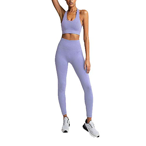 Hotexy Women's Workout Outfit 2 Pieces Seamless Yoga Leggings with Sports Bra Gym Clothes Set