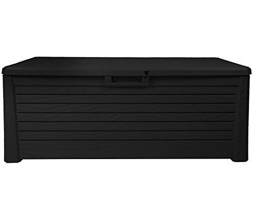 Ondis24 Kissenbox Florida Holz Optik Sitztruhe Auflagenbox Poolbox 550 Liter XXL mit Gasdruckfedern (XXL, Anthrazit)