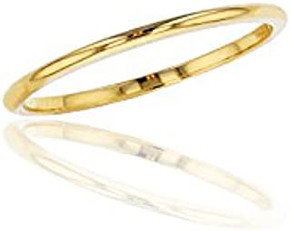10K or 14K Yellow, White and Rose Gold 1mm Plain Polished Wedding Band, Size 4-12