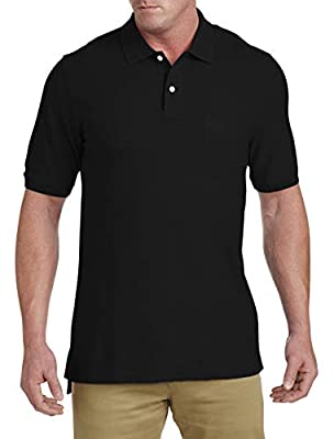 Harbor Bay by DXL Big and Tall Pocket Pique Polo (7XL, Black)