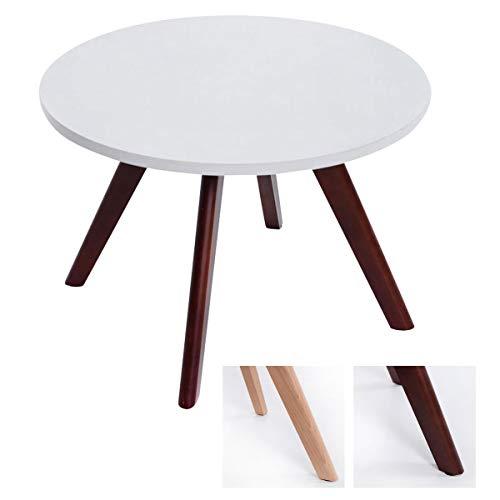 CLP Design-Beistelltisch Eirik aus Holz I Runder Teetisch mit matt weißer Tischplatte I Kompakter Couchtisch mit Holzbeinen, Farbe:Cappuccino