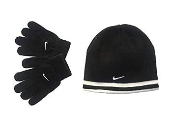 Nike Boys Reversible Beanie and Gloves Set Black 8-20