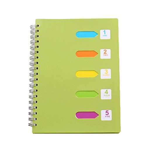 WYH Composition B5 - Cuaderno espiral A5 con rayas en espiral, perfecto para uso en casa y oficina (color verde, tamaño: B5)