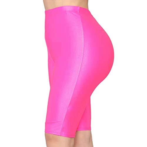 Generise Frau Sport Shorts Radhose - Skinny Sport Leggings Fluoreszenz Hohe Taille Elastizität Yoga Hose Einfarbige Bike Shorts Outdoor Bottoms Athletic Workout Laufen Jogger Leggings