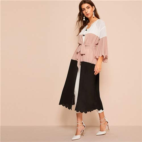 GMZA Colorblock Scalloped Trim Pink Deep V Neck Frühling herfstjurk driekwart mouwen damesjurk