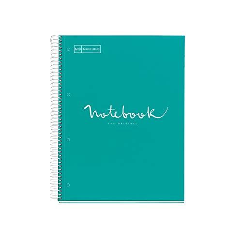MIQUELRIUS - Cuaderno Notebook Emotions - 1 franja de color, A4, 80 Hojas con rayado horizontal 7mm, Papel 90g, 4 Taladros, Cubierta de Cartón Extraduro, Color Turquesa