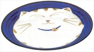 JapanBargain 2565, Japanese Round Porcelain Dinner Plate for Appertizer Dessert Cake Snack Maneki Neko Smiling Lucky Cat Pattern for Cat Lovers Made in Japan, Dish 7.75-inch, Blue