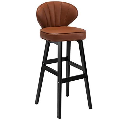 M-YN Taburete de Bar Bar Taburete de Cuero Asiento tapizado del Respaldo con Las piernas Negro de Madera Cocina Desayuno Contador Presidente (Color : Brown, Size : H27inch)