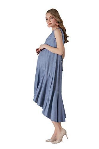 M.C. Asymmetrische omstandigheden jurk - Vrouwen zwangerschapsjurk vrijetijdsjurk zwangerschapsjurk feestjurk - mouwloos denim blauw