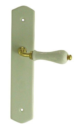DT 2000 550112 - Tirador de puerta sobre placa (porcelana sobre láton pulido, sin ojo), color blanco