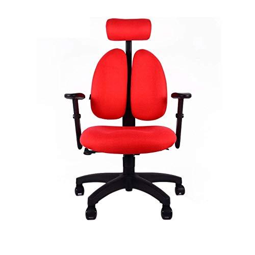 TXOZ - Silla de oficina Q Executive, silla de escritorio con respaldo doble ajustable, apoyo lumbar, reposabrazos, reposacabezas y rueda silenciosa (color: rojo).