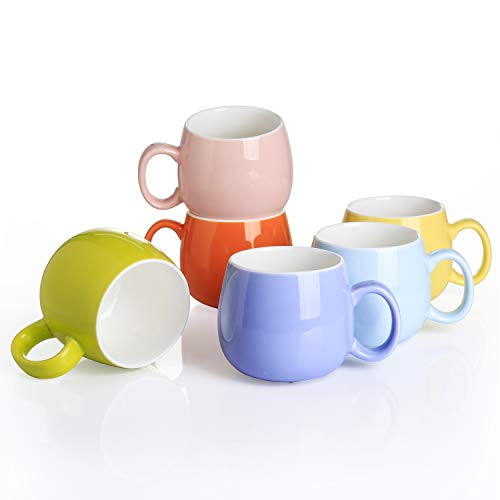 Panbado Kaffeetasse aus Porzellan, 6 teilig Set Tassen 375 ml, 5 Zoll Kaffeepott, Mehrfarbig Teetassen, bunt Modernes Design für Kaffee, Tee, Trinkwasser